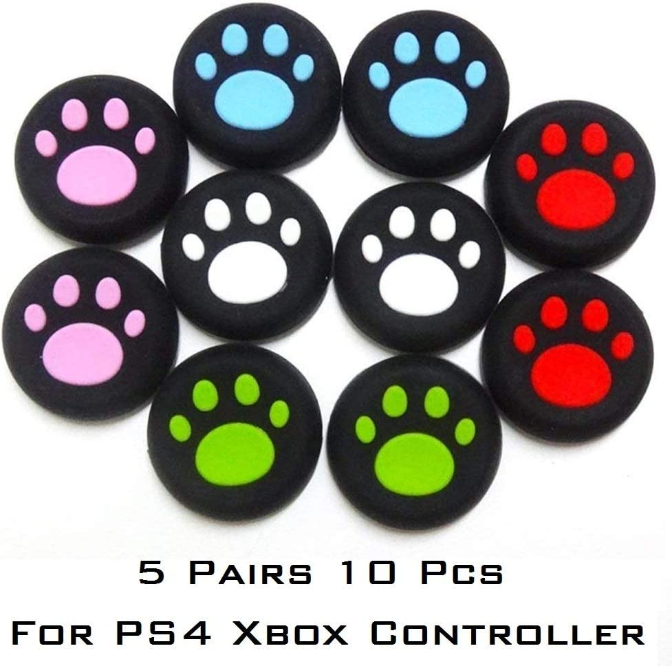 5 Pairs Cat Paw Silicone Thumb Grips 5 Colors 10 Pack Joystick Thumb Stick Grip Cap Protective Cap Cover Compatible For Ps4, Xbox One, Switch Pro Controller by By          Topmixer
