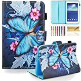 7 inc tablet cover - Dteck Galaxy Tab 3 Lite 7.0 Case, SM-T110/T111/T113 Case, PU Leather Flip Wallet Case with [Auto Sleep/Wake Feature] Smart Folio Stand Cover for Samsung Galaxy Tab 3 Lite 7.0 inch-Blue Butterfly