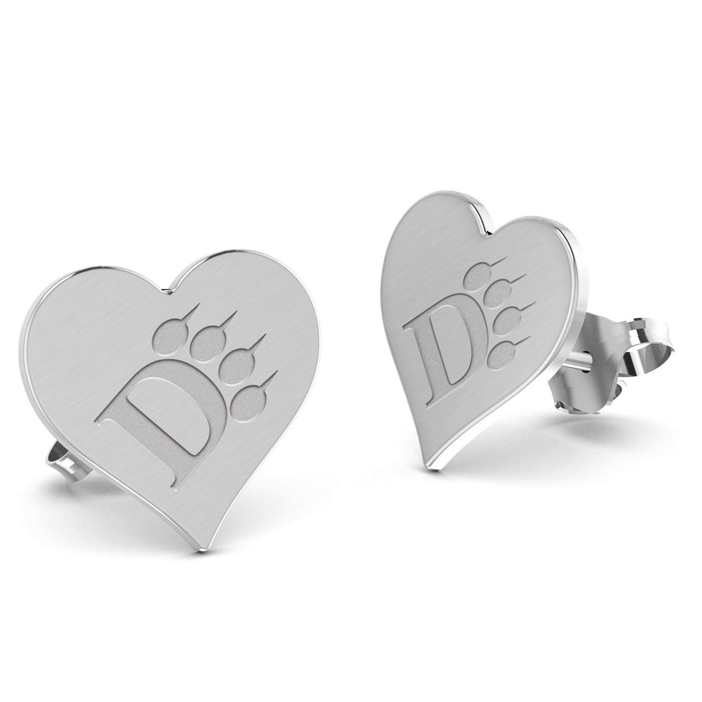 Ohio Dominican University Panthers Heart Stud Earring See Image on Model for Size Reference