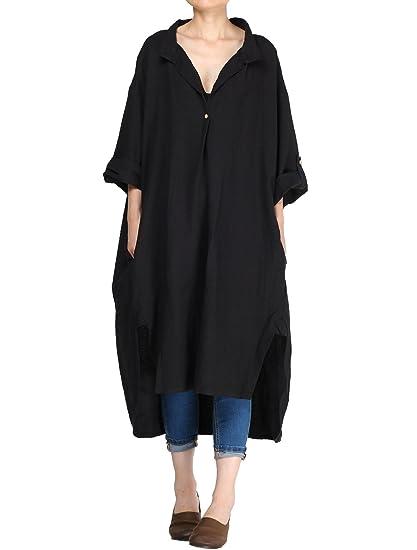 c929f9949f3 Vogstyle Women s Plus Size Cotton Linen Hi-Low Shirt Dress  Amazon ...