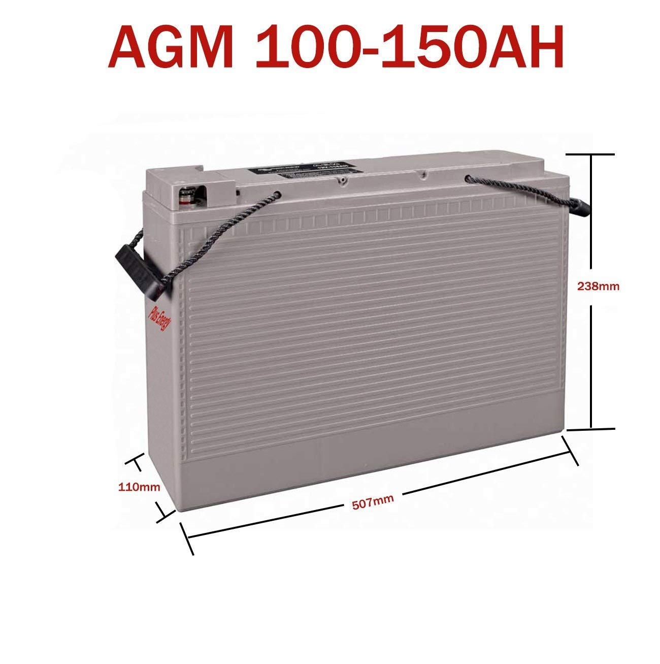 PlusEnergy Baterí a Solar 12v Ciclo Profundo AGM 150Ah 250Ah Gel 150Ah 250Ah Solar Fotovoltaica con terminales (150A Gel)