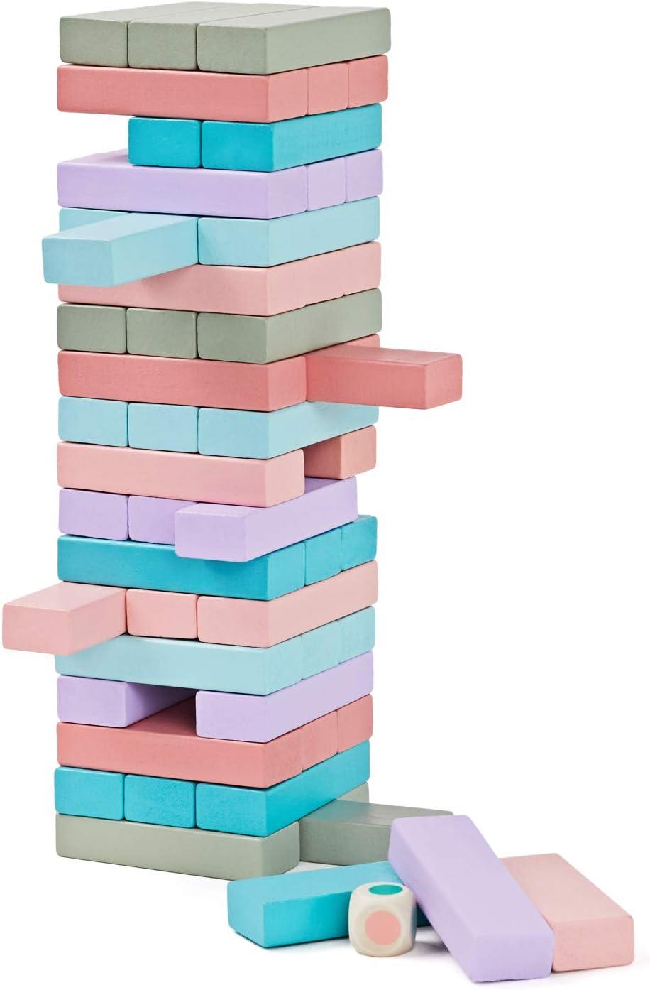 Lewo 54 Piezas Torre de Madera Block Colores Juegos de construcción: Amazon.es: Juguetes y juegos
