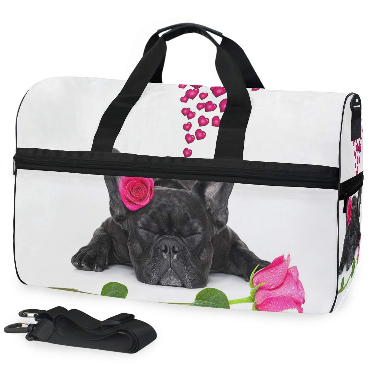 YueLJB Cool Bulldog Glasses Lightweight Large Capacity Portable Luggage Bag Travel Duffel Bag Storage Carry Luggage Duffle Tote Bag