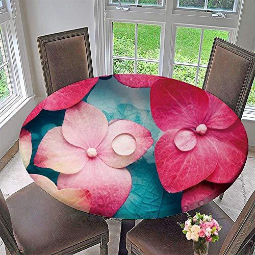 PINAFORE HOME Round Premium Table Cloth Bowl of Water with Pink Hortensia Petals Perfect for Indoor, Outdoor 50