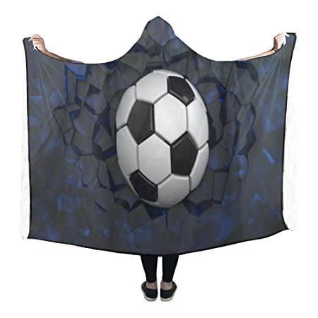 InterestPrint Fleece Hooded Blanket Soccer Ball Wearable Blanket Magnificent Soccer Blankets And Throws