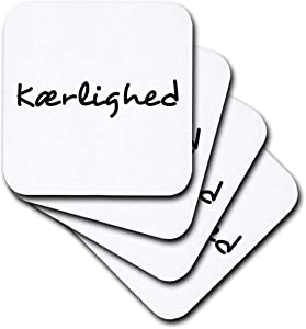 3dRose cst_185034_1 Kaerlighed, Word for Love in Danish Romantic World Language Black Text-Soft Coasters, Set of 4