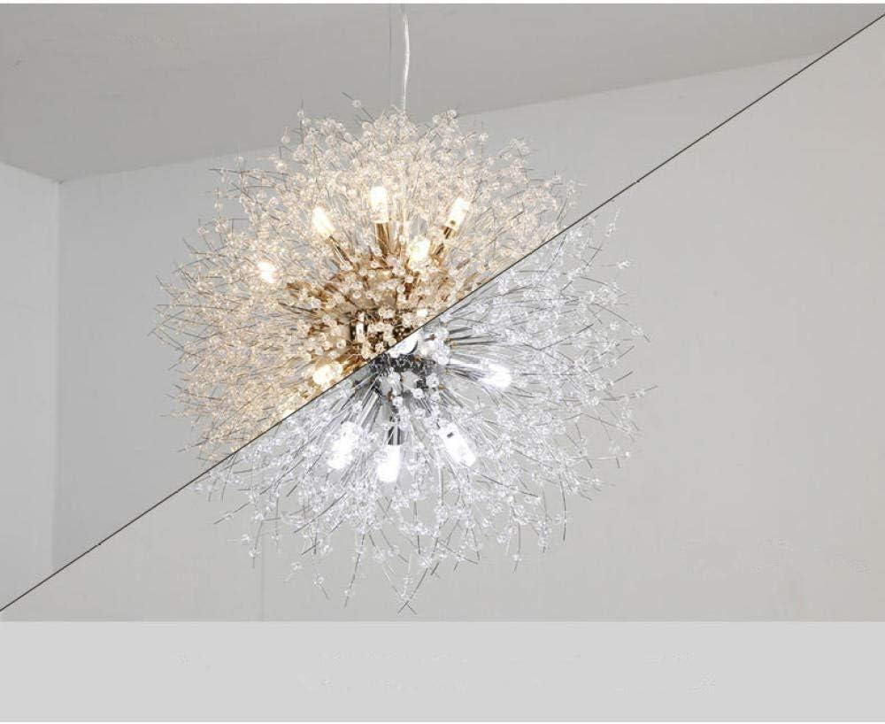 CUITONG Chandeliers Firework Dandelion Ceiling Lights LED Crystal Pendant Lighting Pendant Light Fixtures for Living Room Restaurant Cafe@Silver Cold White/_D40cm