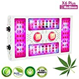 LED grow light dimmable led grow light COB full spectrum for indoor plants veg and flower 12-band UV&IR MaxBloom high yield 600W X6 Plus led grow lights for marijuana (the 8th Generation) (600W)