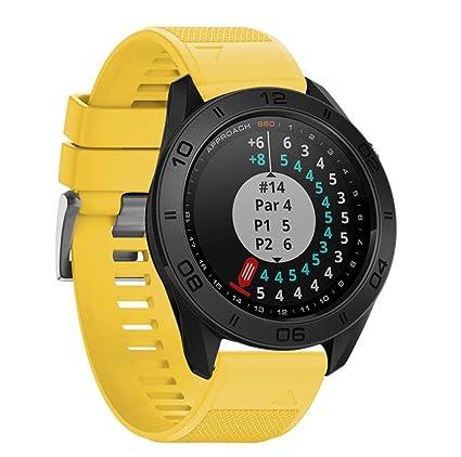 Malloom Banda de Reloj Suave de Silicona Correa de Repuesto para Garmin Approach S60 Smartwatch