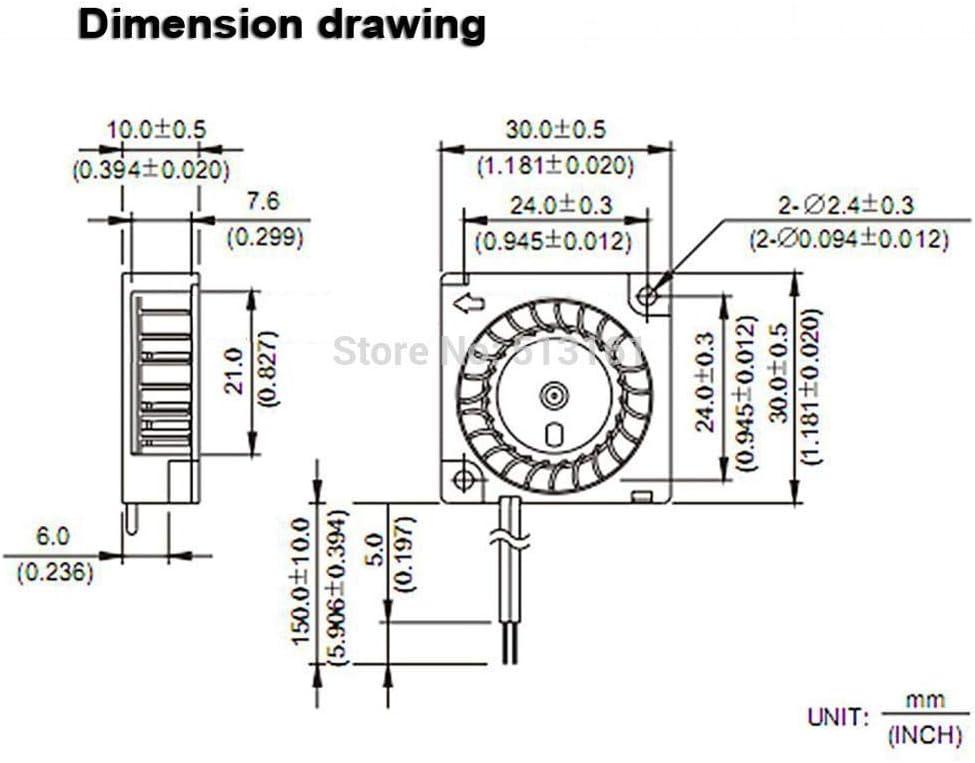 30 Pieces Gdstime 24V 30mm 3010 Blower Fan 30mm 30mm 10mm Mini Brushless Blower Cooling Cooler Fan