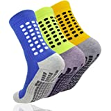 AOIREMON スポーツソックス 3足セット サッカーソックス 耐久性 男女兼用 滑り止め加工 抗菌防臭 トレーニング 靴下 底面ゴムパッド付き