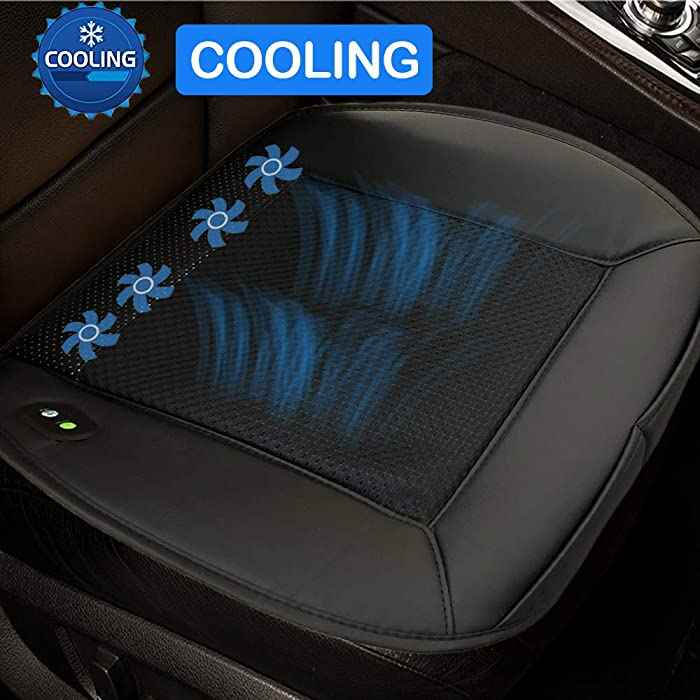 Big Ant Cooling Seat Cushion, 12V Automotive Universal Fit Seat Cushion Ventilate Breathable Air Flow with Holes for Driver Seat, Vehicle Front and Back Seats, Office Chair in Hot Summer(Black)