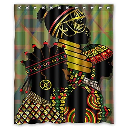 60quot X 72quot Waterproof Bathroom African Woman Shower Curtain