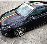 DOKOT® 50-Inches Italia Italian Italy Flag Auto Decal Bonnet Stripes for Car Body, Hood, Roof, Trunk, Fender for Porsche, Ferrari, FIAT, Volkswagen, Honda, Toyota, Peugeot