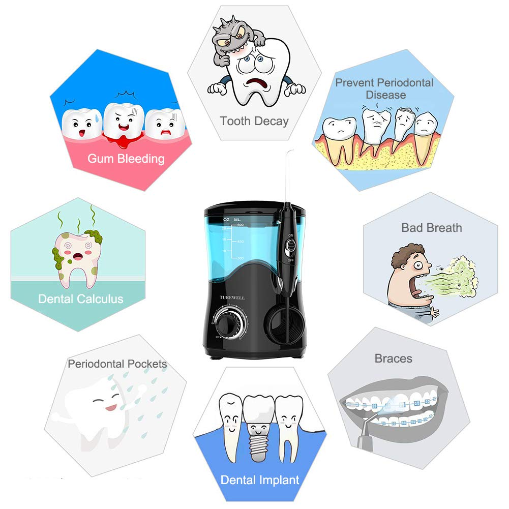 Water Flosser, Dental Oral Irrigator for Teeth/Braces,10 Pressure Levels Water Pick Teeth Cleaner 8 Water Jet Tips for Family, 600ML Electric Water Dental Flosser (Black)