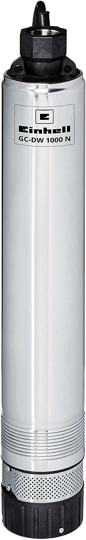 Einhell GC-DW 1000 N Brunnenpumpe - Einhell Tiefbrunnenpumpe GC-DW 1000 N (1000 W, 6500 L/h, 45 m Förderhöhe, 99 mm Pumpendurchmesser, Druckanschluss und Schmutzsieb aus Edelstahl, mehrstufiges Pumpenrad, Überlastschalter)