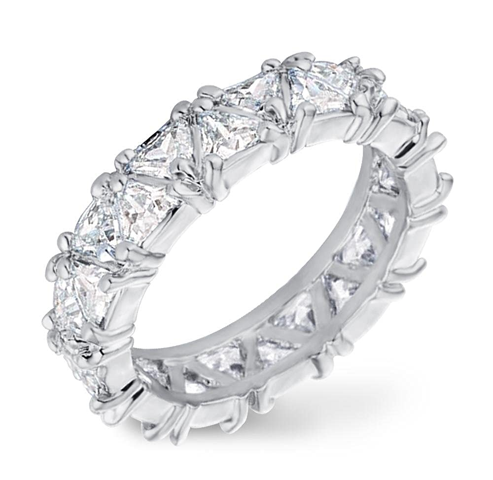 Samie Collection 6.44ctw Trillion Cut CZ Eternity Wedding Band Rings in 18K Gold & Rhodium Plating RSASTSR-CLE