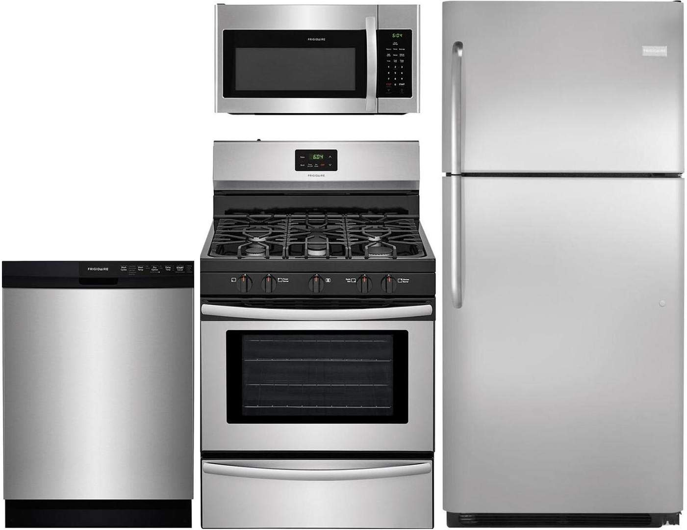 "Frigidaire 4-Piece Kitchen Package with FFTR2021QS 30"" fridge, FFGF3052TS 30"" Gas Range, FFMV1645TS 30"" Over the Range Microwave and FFBD2412SS 24"" Built In Full Console Dishwasher in Stainless Steel"