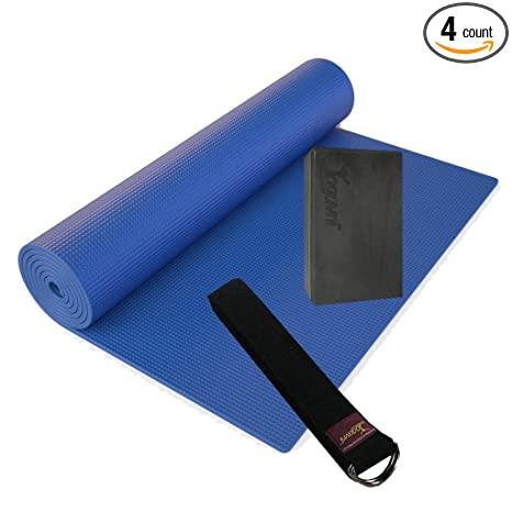 Amazon.com: Yoga Kit de inicio de valor (alfombrilla azul ...