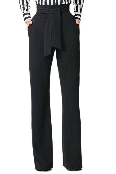 finest selection e6795 49127 Jumojufol Donna Elegante Alto Vita Dritto Benda Tasche A Gambe Larghe  Pantaloni Lunghi