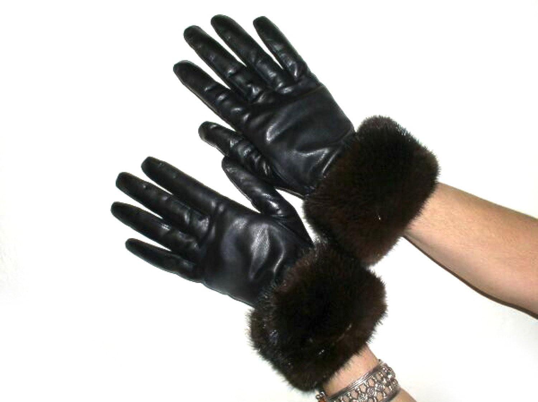 ミンクの毛皮を持つ黒の手袋はトリムFursNewYorkカシミヤ並ぶラムスキンの革 B00XAN9QTU 7.5|Ranch Mink Ranch Mink 7.5