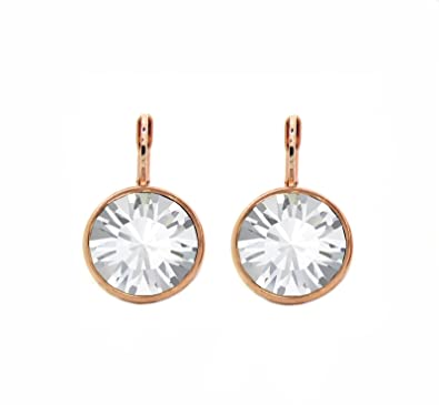 Image Unavailable. Image not available for. Color  CP Bella Clear Crystal Rose  Gold-plated Earrings Made with Swarovski Crystals 237d75e432