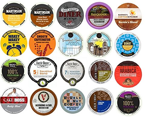 20 K Cup Variety Pack - Light and Medium Coffees Only - No Flavored Coffee K Cups - Large Selection of House and Breakfast Blends K Cup Blends
