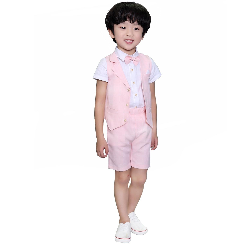 DREAMOWL 4 pcs Toddler Boy Summer Wedding Cotton/Linen Blend Kids Vest Short Set