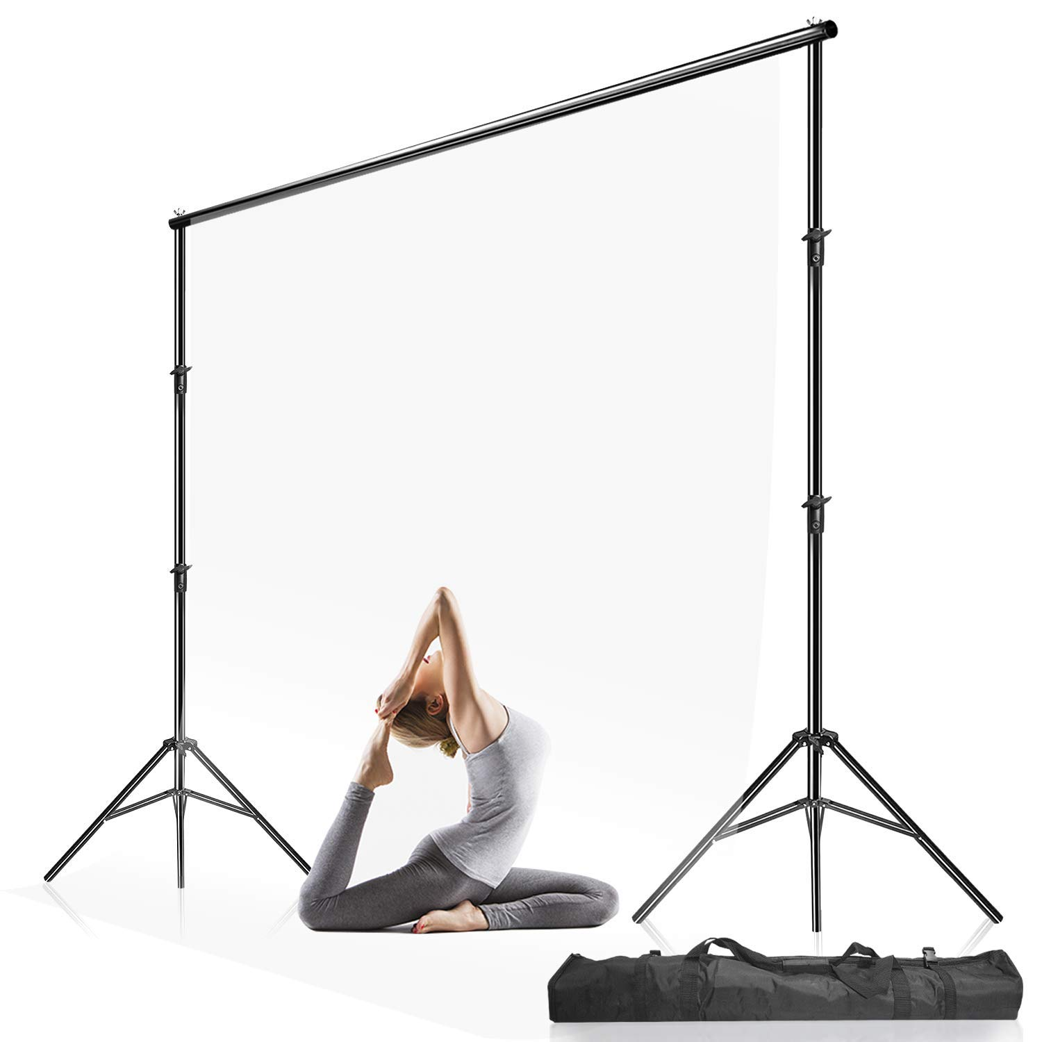 Julius Studio 10 ft Max Wide Adjustable Background Support Stand/Equipment Used in Photo Video Studio for Backdrops with, Muslins with Carry Bag, LNA1106 by Julius Studio