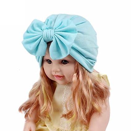 Sombrero de niños Baby Scarf Chicas Turbante Linda Sólido Calentar Otoño  Invierno Boho Gorro Envoltura de 6d3b72af4ae