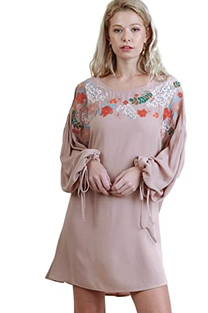 0b880202a236 Umgee Women's Bohemian Floral Embroidered Puff Sleeve Dress at Amazon  Women's Clothing store: