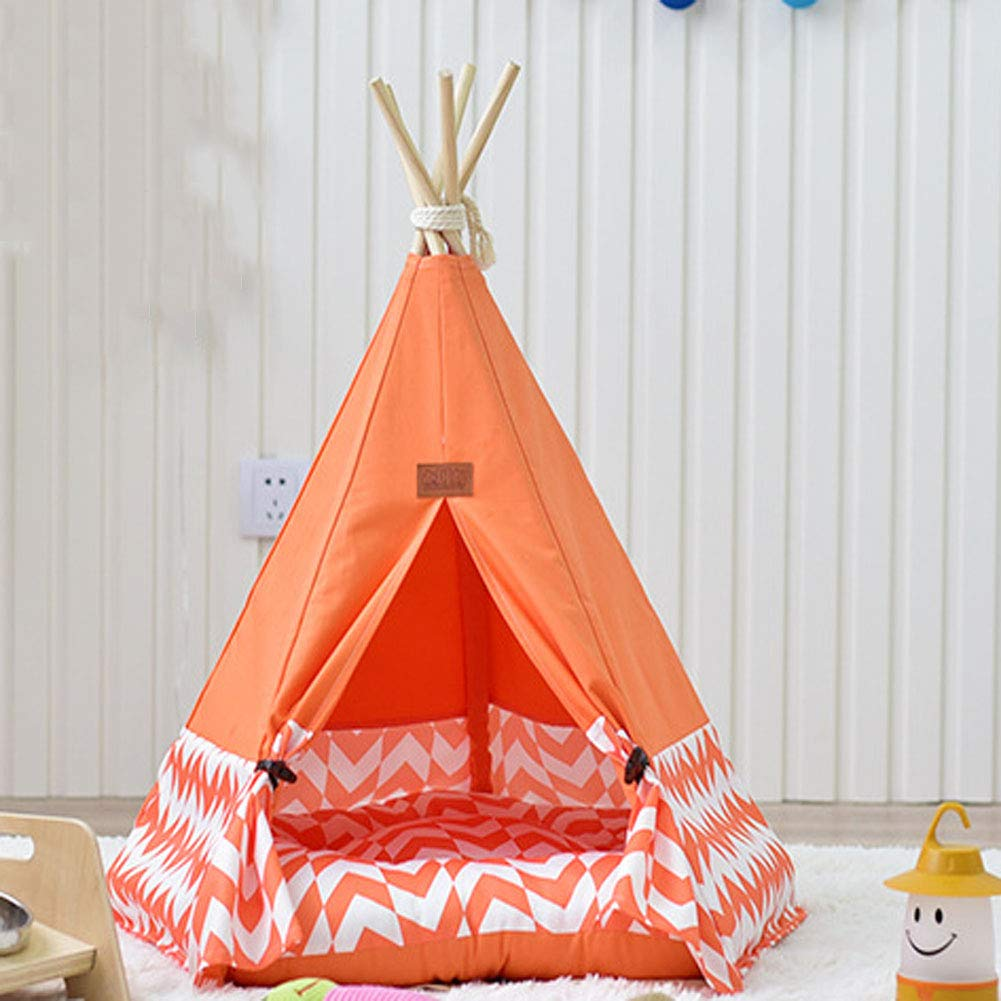 orange Large(includingpad) orange Large(includingpad) Pet Wooden Canvas Tent House Folding Furniture Cat Bed Puppies Removable And Easy to Clean Medium Kennel Multi color Selection,orange,Large(includingpad)
