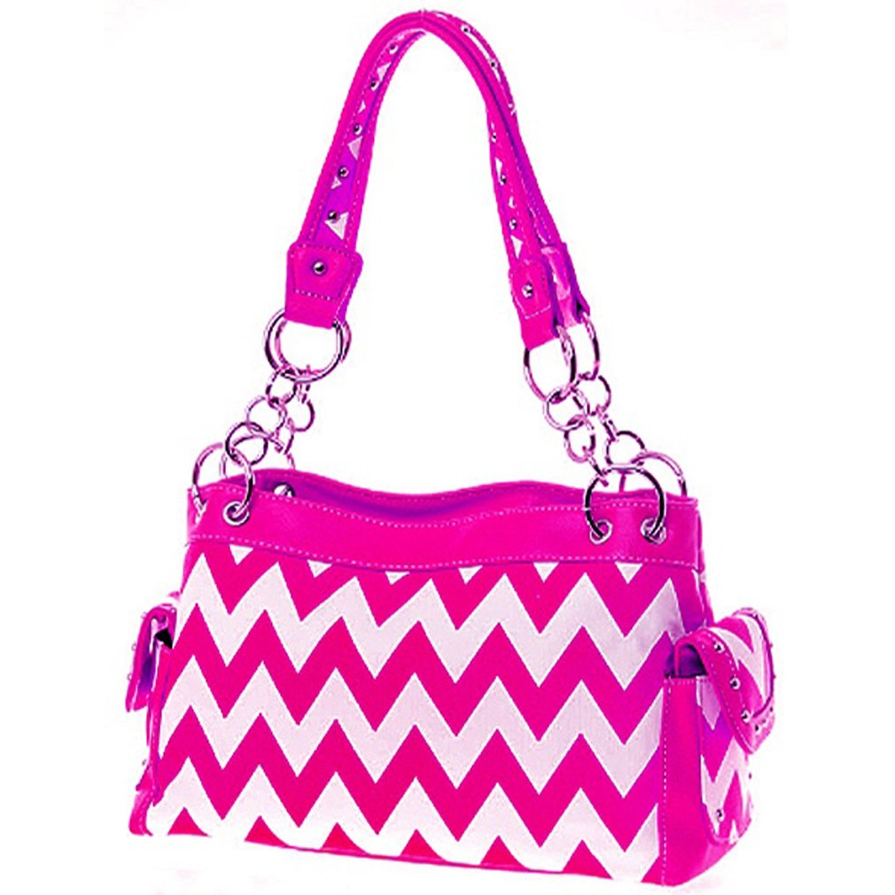 Cute & Trendy! Chevron Zig Zag Print Satchel Purse Handbag (Hot Pink)