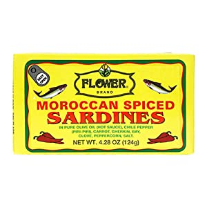 Flower Brand Spiced Sardines (OliveOil) 4.38oz Morocco Wild Sardines Canned Sardines, High Protein Food, Keto Food, Keto Snacks, Gluten Free Food, Canned Food Bulk Sardines in Oil (Pack of 5)