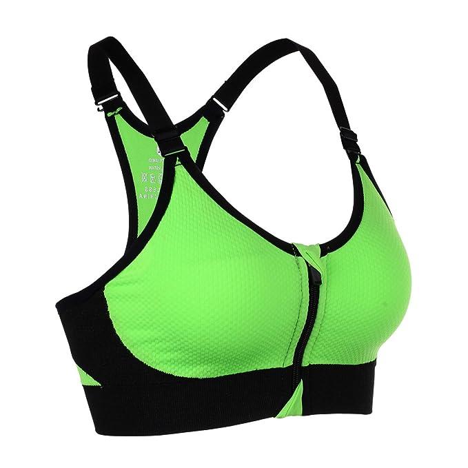 sujetador deportivo para yoga de color verde neón