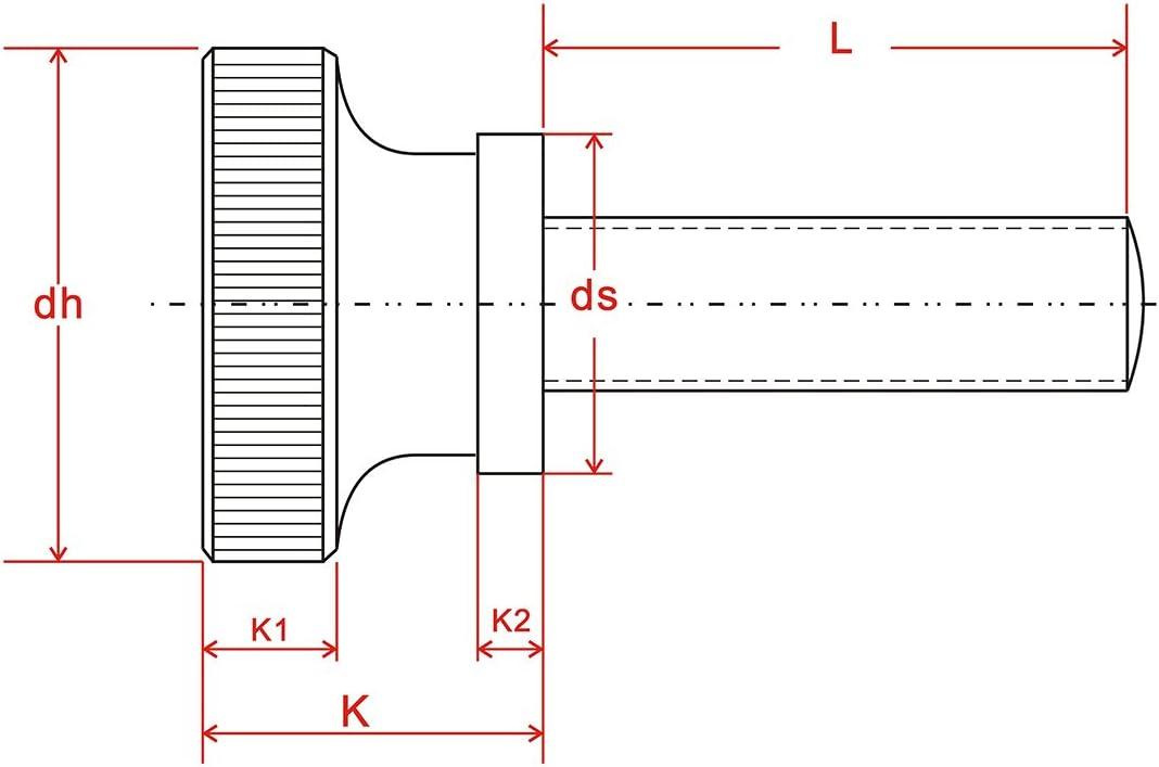 M5 R/ändelschrauben H/öhe Form Stahl,12 St/ück M5 x 14mm