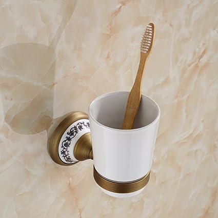 LY-toothbrush cup holder Sostenedor de Taza único de Cerámica Antiguo Cobre de Cobre Retro