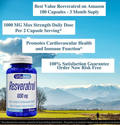 61vn6Y57OFL - Resveratrol Capsules 1000mg Serving - 180 Capsules - Full 3 Month Supply - Antioxidant Trans Resveratrol Supplement Helps Support Anit-Aging and Cardiovascular System