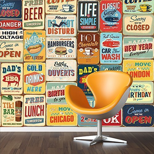 "Walplus 152x161 cm Wall Stickers ""Vintage Metal Sign Collage"" 1 pack Removable Self-Adhesive Mural Art Decals Vinyl Home Decoration DIY Living Bedroom Décor Wallpaper, Multi-colour"