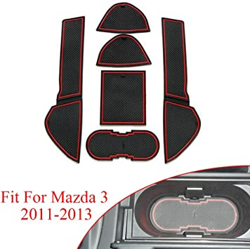 Car Door Non-Slip Gate Slot Pad Cup Mats Auto Interior Rubber Door Groove Slot Storage Mats Cup Holder Pad Interior Decoration Mat for FORD Mustang 2015~2020 Styling Accessories
