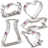 Valentine's Day Cookie Cutter Set - 5 piece - Love Potion, Heart, Candy, Heart w/Arrow, Arrow - Ann Clark - US Tin Plated Steel