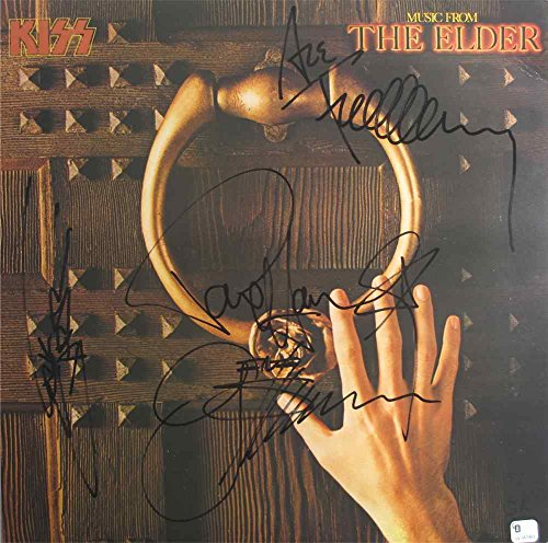 Kiss Band Rare Music From The Elder Autographed Signed Record Album Lp Vinyl Certified Authentic Coa By Simmons  Stanley  Carr  Deceased   Frehley