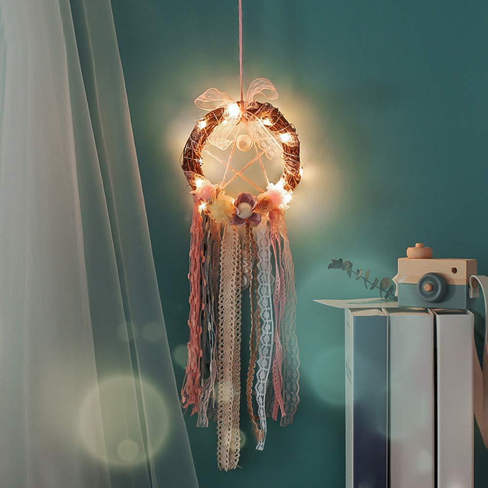gfjhgkyu Hecho a Mano, Dream Catcher Adornos, luz, Hängende Decoración Creativa Lámpara de luz Dream Catcher Ornament Home Colgar Decoración Regalo de cumpleaños One Color