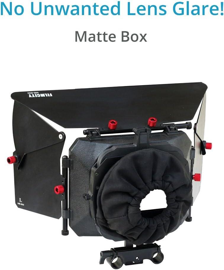 FILMCITY DSLR Camera Shoulder Support Rig Kit with Cage /& Matte Box FC-02 DV HDV DSLR Video Camcorders Compatible FREE Offset Z Bracket