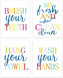 Funny Bathroom Quote&Saying Art Print,Watercolor Lettering Sign Wall Art Painting Poster,Colorful Bathroom Rules Typography Cardstock Poster For Kids Washroom Decor (12'' x 16'',set of 4 ,Unframed)