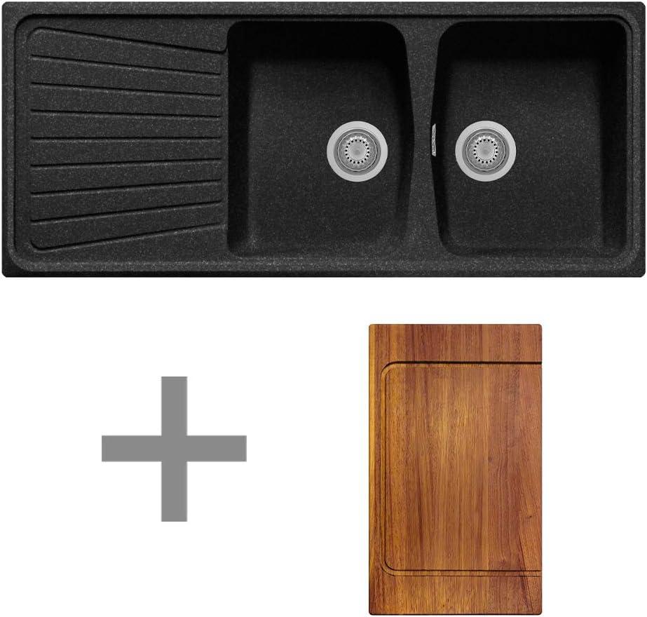 /Évier composite Plados SP1162 2 cuves /égouttoir planche /à d/écouper en bois
