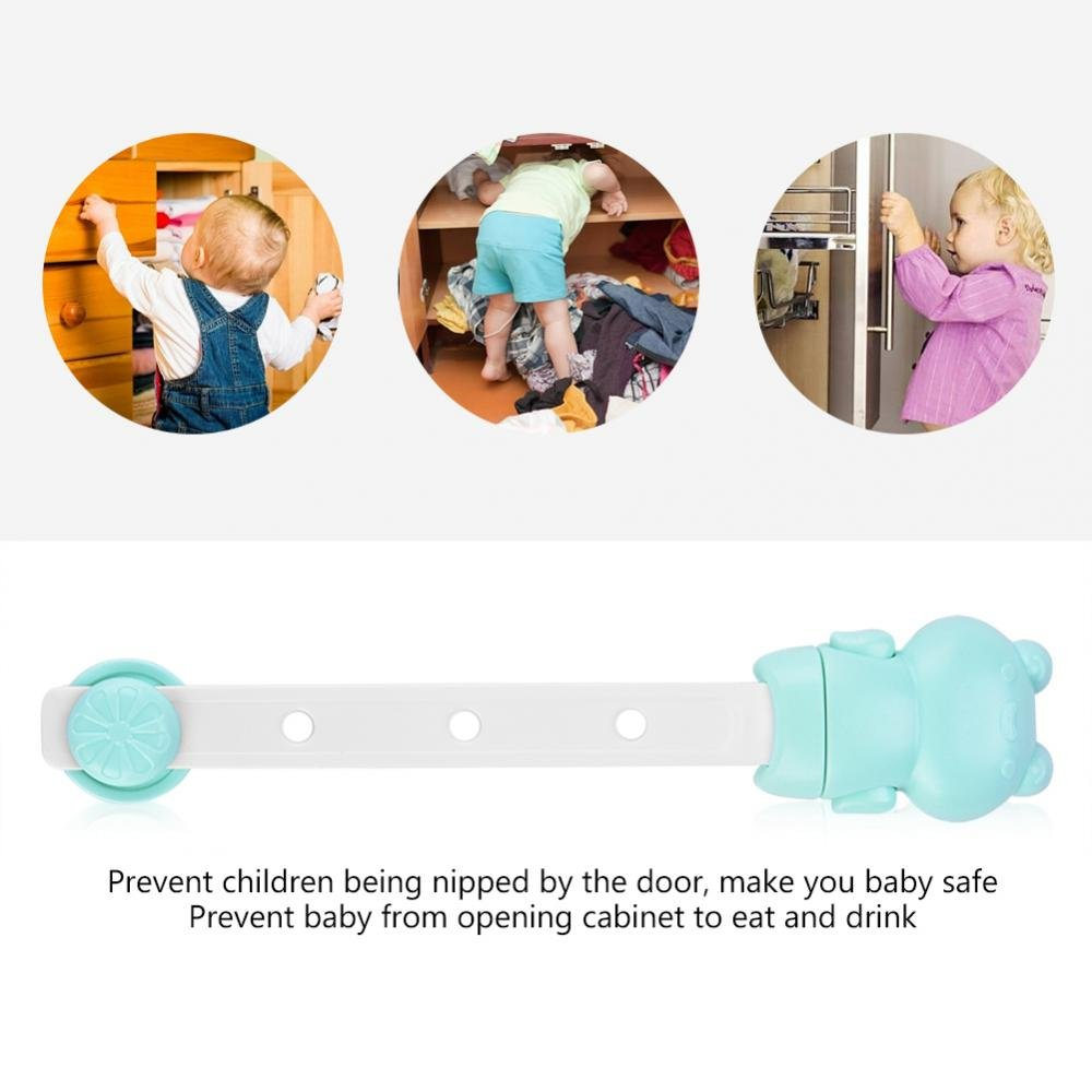 6 pcs Child Safety Locks Adjustable Adhesive Baby Safety Door Cupboard Drawer Cupboard(Green) by Yosoo- (Image #3)