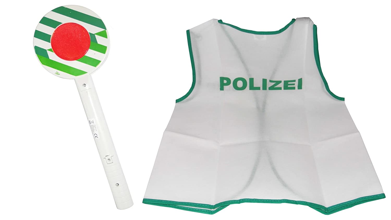 OVP! Polizeikelle ca 31cm mit Licht Polizei Warnweste Karneval Fasching Neu