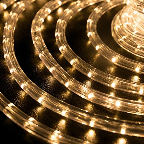 WYZworks 100 feet 1/2'' Thick WARM WHITE Pre-Assembled LED Rope Lights with 10', 25', 50', 150' option - Christmas Holiday Decoration Lighting | UL Certified by WYZworks (Image #1)