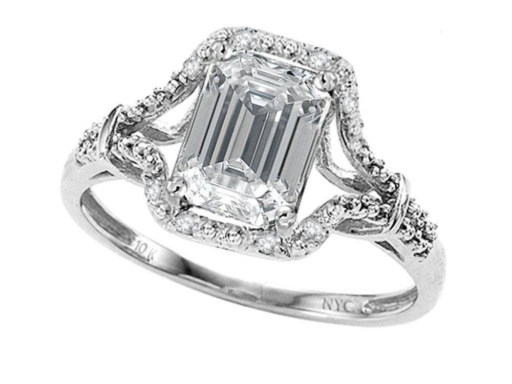 Star K 8x6mm Emerald Cut Genuine White Topaz Ring 10 kt White Gold Size 7